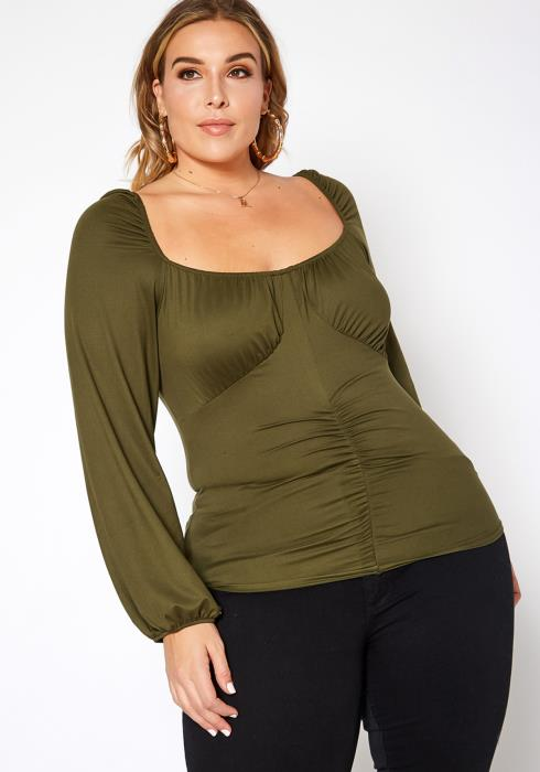 Asoph Plus Size Ruched Design Square Neck Top