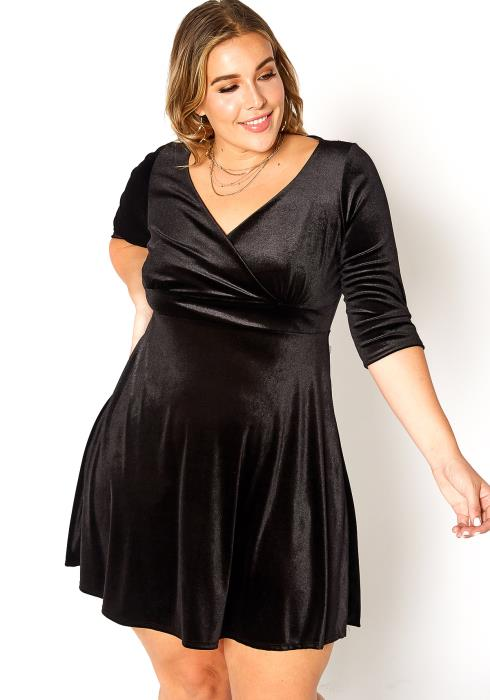Asoph Plus Size Velvet Fit & Flare Mini Dress