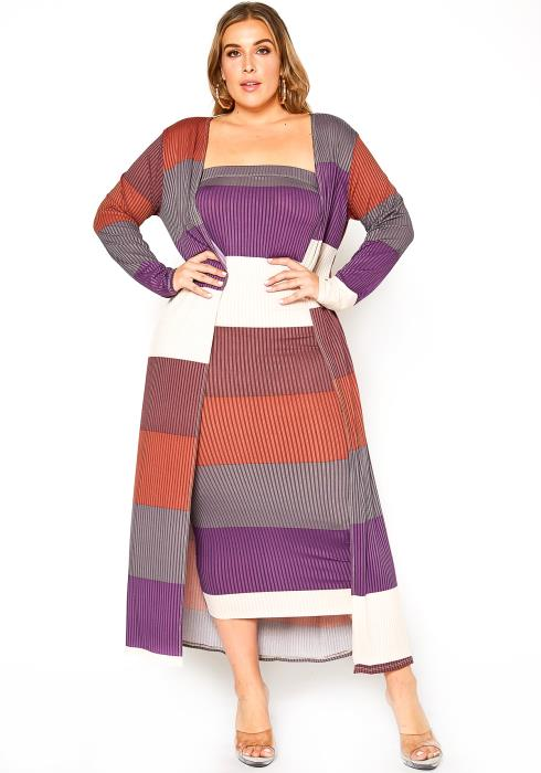 Asoph Plus Size Multi Stripe Tube Midi Dress & Longline Cardigan Set