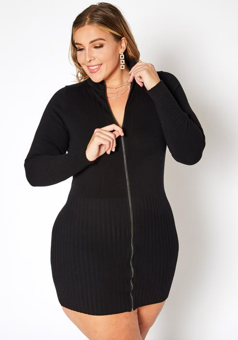 Asoph Plus Size Zip Front Mock Neck Knit Mini Dress