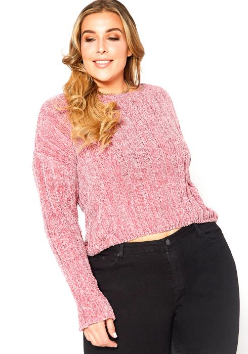 Asoph Plus Size Pink Velour Knit Sweater