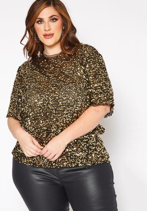 Asoph Plus Size Golden Sequin Short Sleeve Blouse