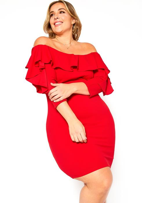 Asoph Plus Size Off Shoulder Ruffle Tier Bodycon Mini Dress