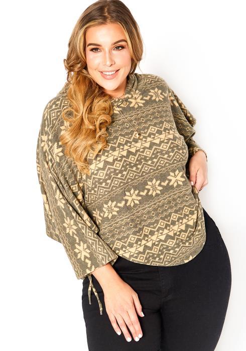 Asoph Plus Size Aztec Print Dolman Sleeve Hooded Sweater