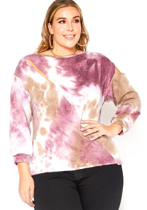 Asoph Plus Size Pink Tie Dye Slit Hem Crew Neck Top