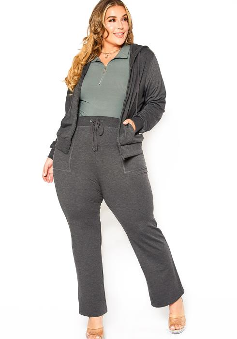 Asoph Plus Size Charcoal Grey Zip Up Sweater & Pants Set