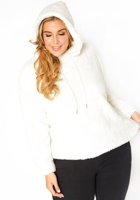 Asoph Plus Size Cozy Sherpa Knit Hooded Pullover Sweater