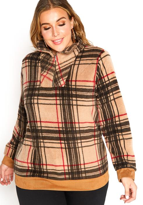 Asoph Plus Size Tartan Plaid High Neck Zip Up Fleece Sweater