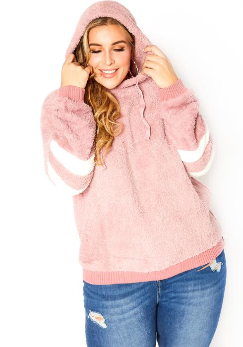 Asoph Plus Size Pink Sherpa Knit Hooded Pullover Sweater