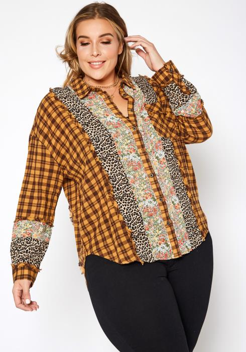 Asoph Plus Size Vintage Mood Print Button Up Collar Shirt