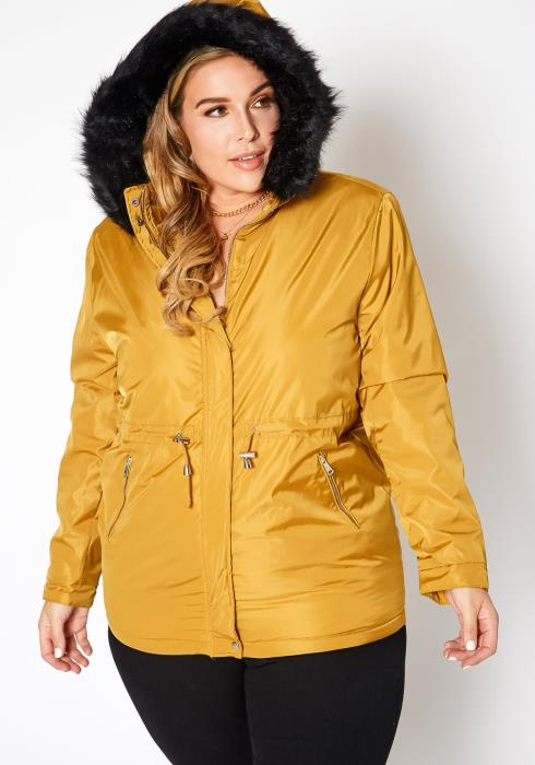 Asoph Plus Size Faux Fur Lined Hooded Rain Jacket