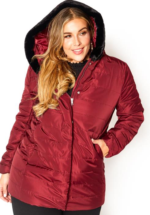 Asoph Plus Size Velvet Faux Fur Lined Hooded Puffer Jacket