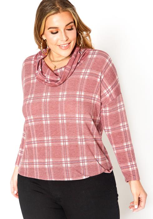 Asoph Plus Size Plaid Funnel Neck Sweater