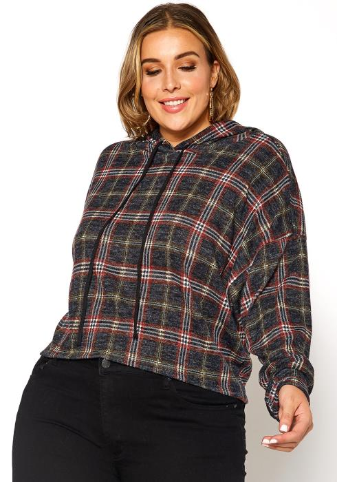 Asoph Plus Size Tartan Plaid Lightweight Hooded Sweater