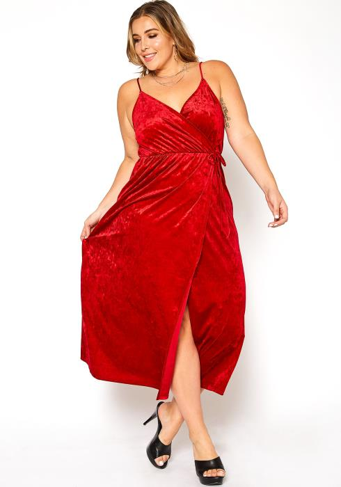 Asoph Plus Size Luxe Red Velvet Cami Maxi Dress