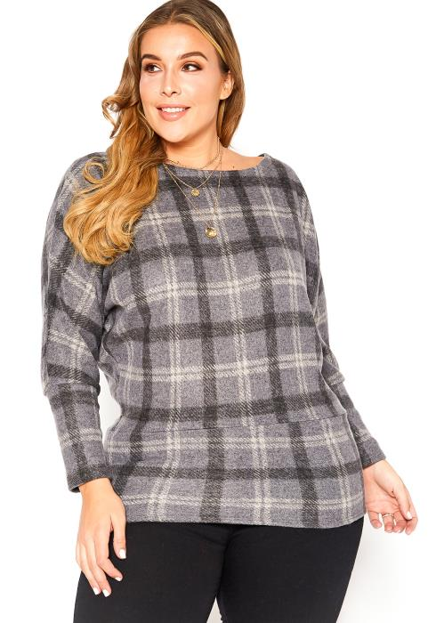 Asoph Plus Size Tartan Plaid Hip Length Knit Top