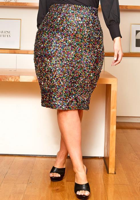 Asoph Plus Size Multi Sequin Pencil Mini Skirt
