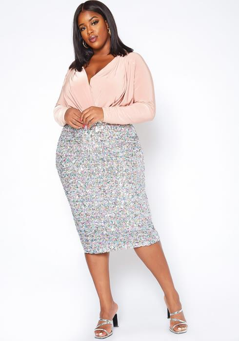 Asoph Plus Size Multi Sequin Pencil Midi Skirt