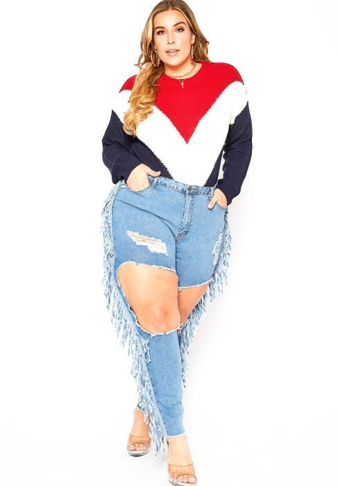 Asoph Plus Size Fringe Hem Distress Cut Out Blue Jeans