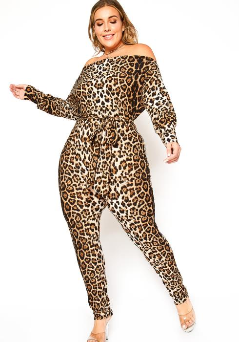 Asoph Plus Size Leopard Print Off Shoulder Bodycon Jumpsuit