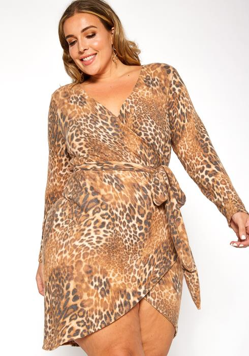 Asoph Plus Size Leopard Print V Neck Wrap Mini Dress