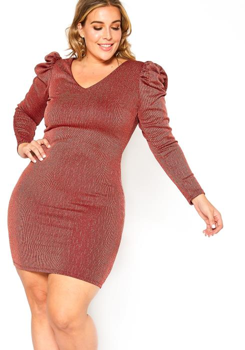 Asoph Plus Size Shimmer Effect Puff Shoulder Hem Mini Party Dress