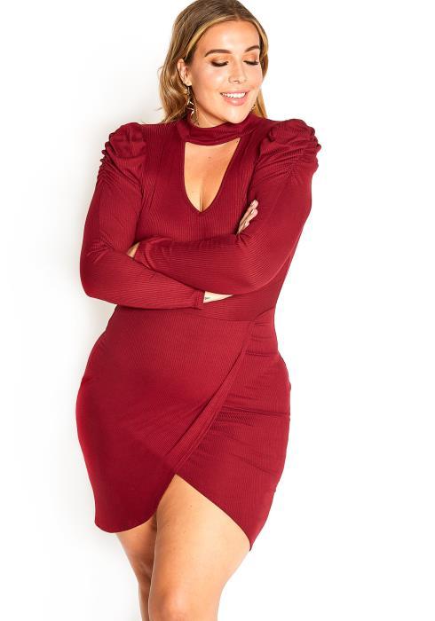 Asoph Plus Size Late Night Plans Mock Neck Bodycon Mini Dress