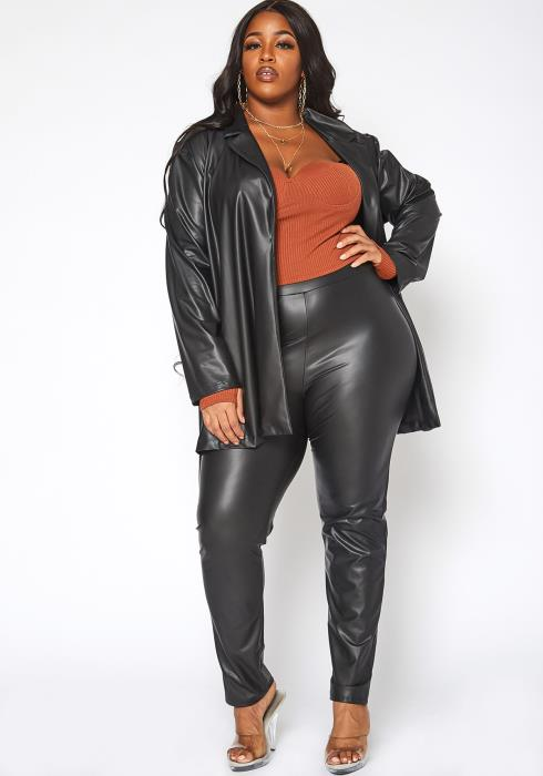 Asoph Plus Size Undercover PU Leather Notch Collar Jacket & Leggings Set