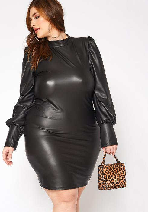 Asoph Plus Size All Nighter PU Leather Puff Sleeve Mini Dress