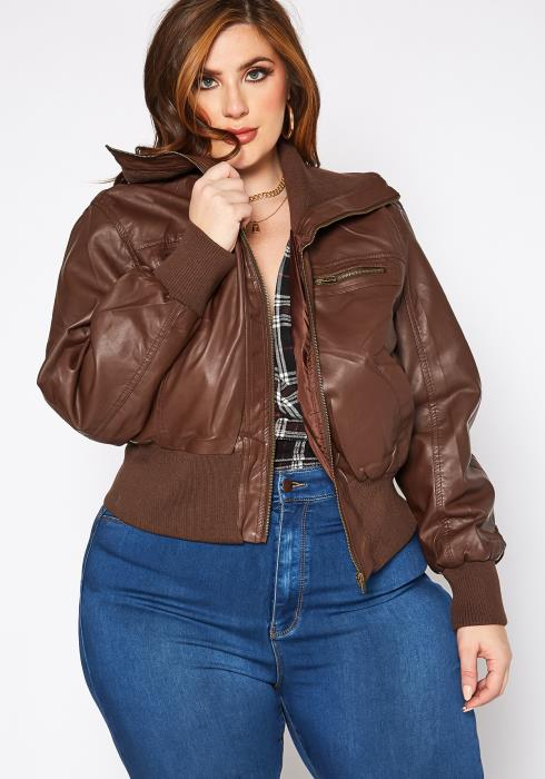 Asoph Plus Size Uptown Girl PU Leather Ribbed Contrast Jacket