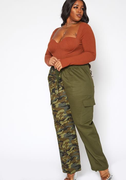 Asoph Plus Size Camo Print Splice Utility Pants