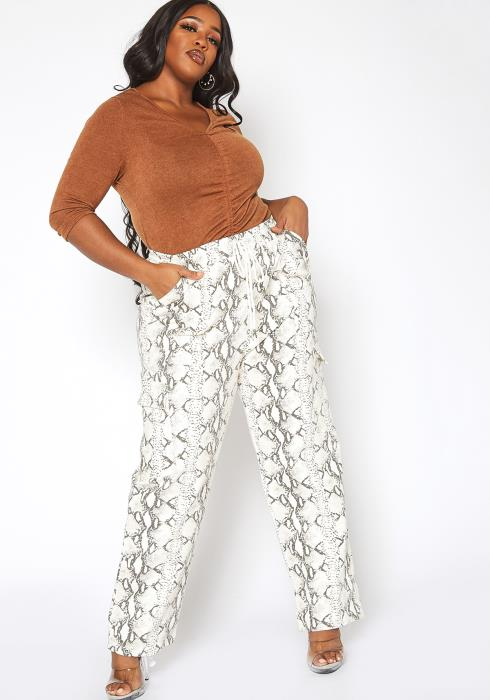 Asoph Plus Size Snakeskin Print Straight Leg Pants