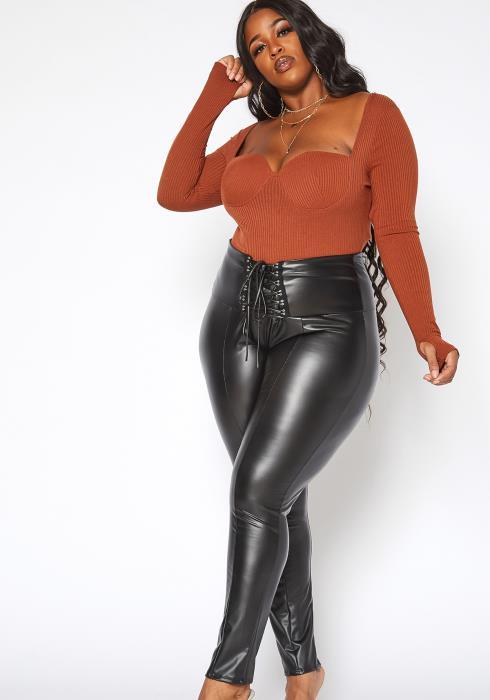 Asoph Plus Size PU Leather Cross Lace Design Leggings