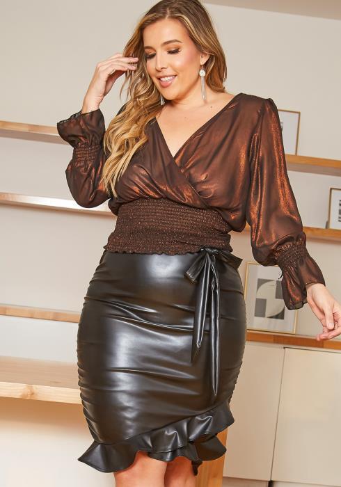 Asoph Plus Szize PU Leather Ruffle Trim Pencil Skirt