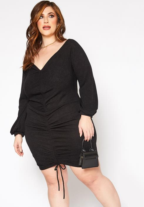 Asoph Plus Size Ruched Drawstring Hem Design Knit Mini Dress