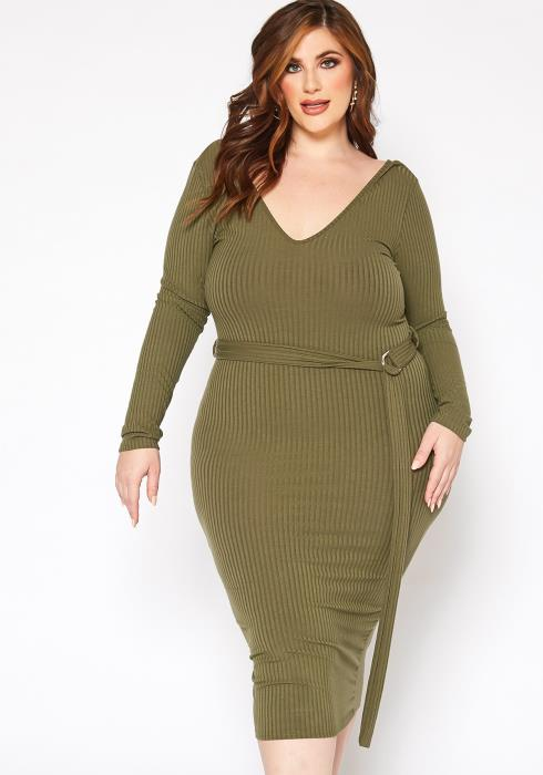 Asoph Plus Size Ribbed V Neck Long Sleeve Midi Dress