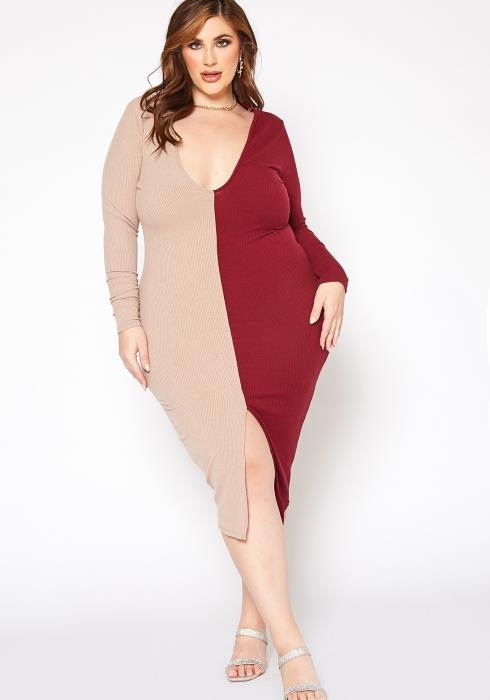 Asoph Plus Size Color Splice V Neck Bodycon Midi Dress