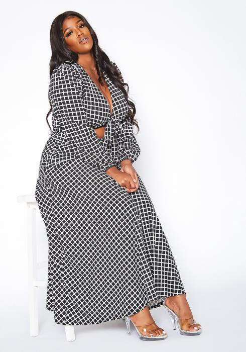 Asoph Plus Size Grid Print Wrap Crop Top & Maxi Skirt Set