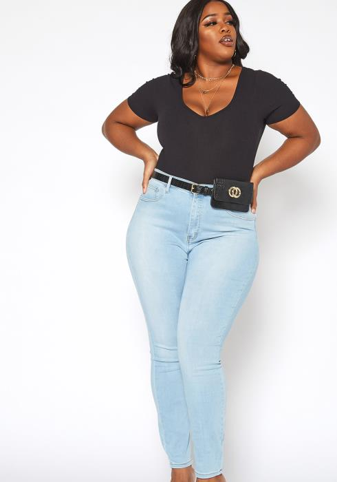 Vibrant Plus Size Favorite High Waisted Skinny Denim Jean