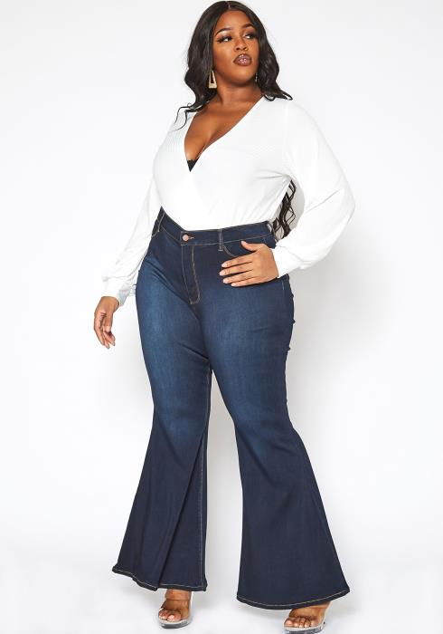 Vibrant Plus Size Bum Loving Bell Bottom Denim Jean