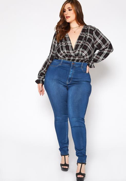 Asoph Plus Size Classic Skinny Denim High Rise Jean