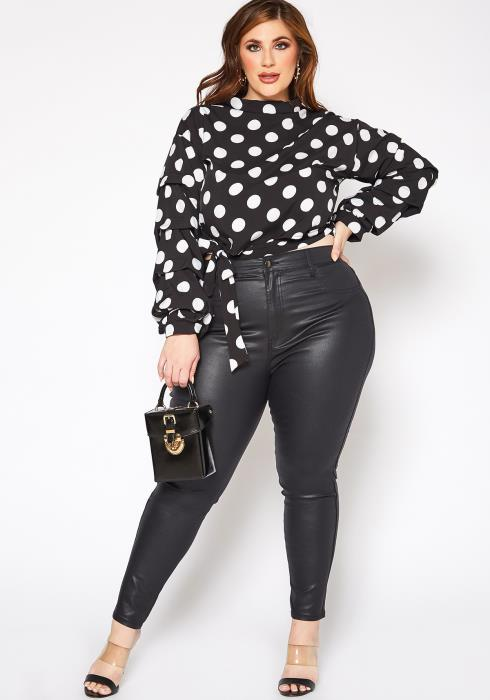 Vibrant Plus Size Girls Night Out PU Leather Skinny Jeans