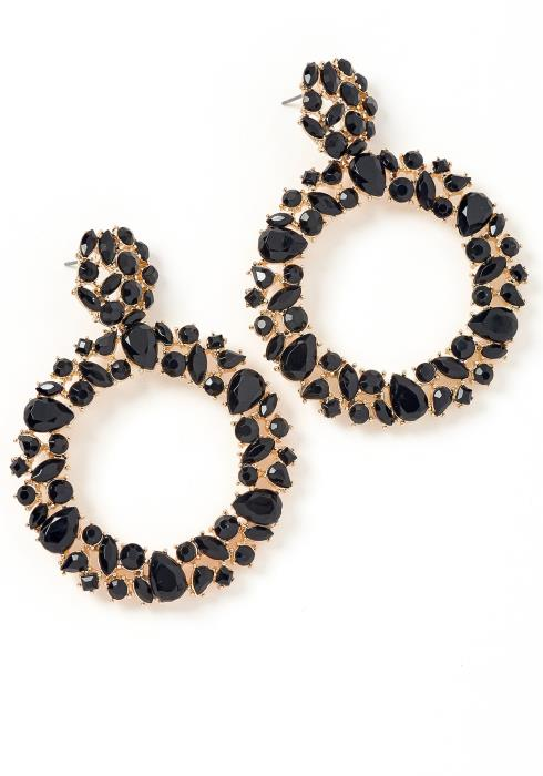 Rosanna Black Jewel Round Earrings