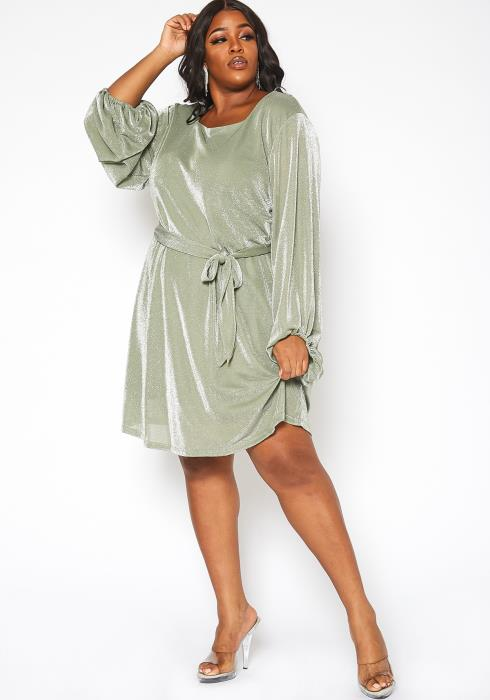 Asoph Plus Size Serene Shimmer Fit & Flare Midi Dress