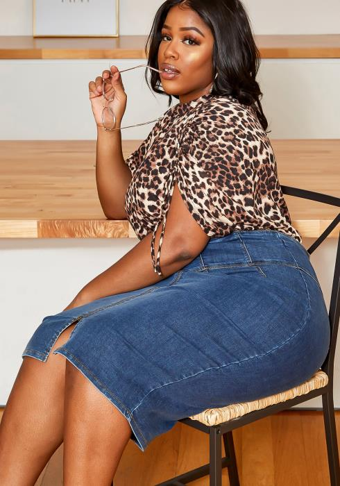 Asoph Plus Size High Waist Stitch Bodice Denim Midi Skirt
