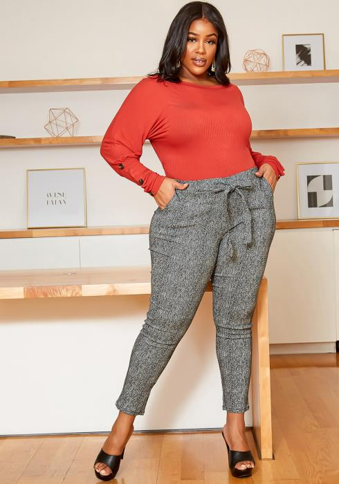 Asoph Plus Size Future Boss Front Tie Fitted Pants