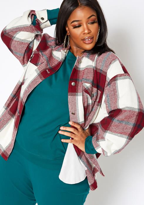Asoph Plus Size Burgundy Plaid Flannel Cardigan