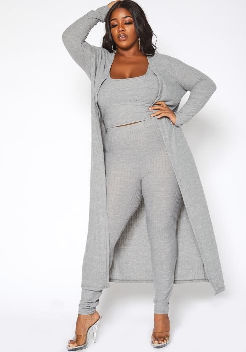 Asoph Plus Size Sweet Comfort Ribbed Knit Three Piece Set