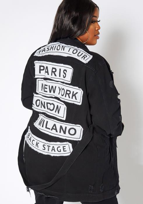 Asoph Plus Size Paris Fashion Tour Longline Denim Jacket