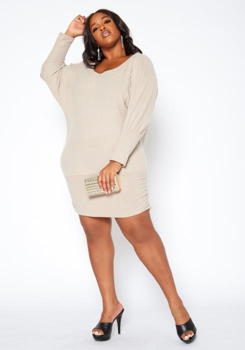 Asoph Plus Size Drop Shoulder Long Sleeve Mini Dress